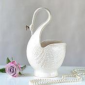 Для дома и интерьера ручной работы. Ярмарка Мастеров - ручная работа Ваза Белая Лебедь с короной. Handmade.