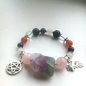 Украшения handmade. Livemaster - original item Bracelet with large pyrite fluorite rose quartz and garnet charms. Handmade.
