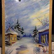 """Картины и панно ручной работы. Ярмарка Мастеров - ручная работа """"Зима... """" Шерстяная акварель. Handmade."""