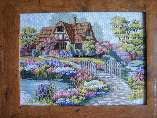 Пейзаж ручной работы. Ярмарка Мастеров - ручная работа. Купить Домик. Handmade. Разноцветный, цветы, красочный, ручная работа, канва