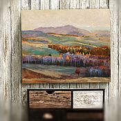 Картины и панно handmade. Livemaster - original item Painting on canvas Autumn gave (lilac, mint, red). Handmade.