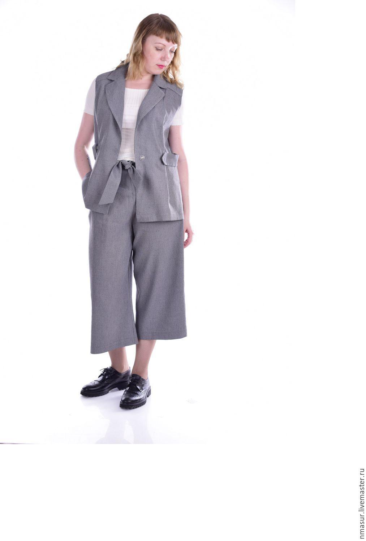 Купить Авторский жилет  короткий серый в интернет магазине на Ярмарке Мастеров