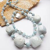 handmade. Livemaster - original item Necklace and bracelet, and the sky (beryl is aquamarine). Handmade.