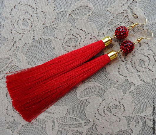 """Серьги ручной работы. Ярмарка Мастеров - ручная работа. Купить Серьги кисти """"Elegant red"""". Handmade. Ярко-красный"""