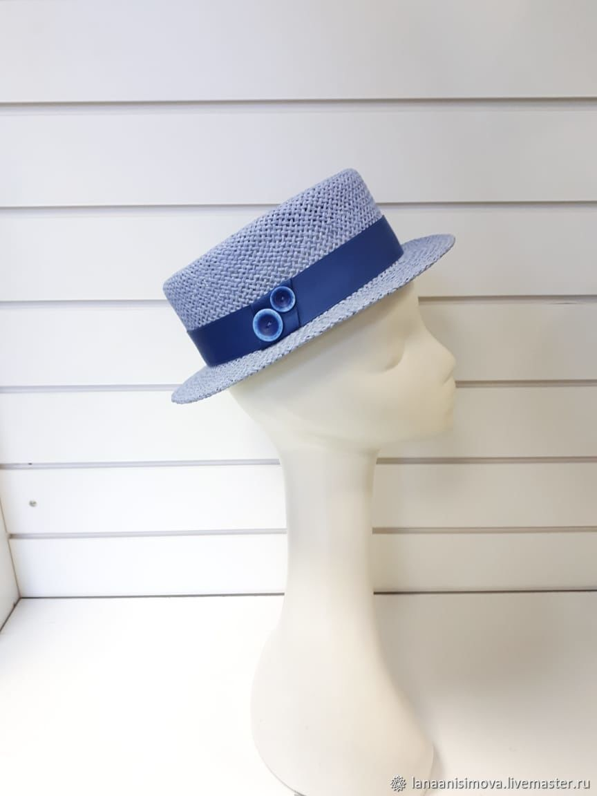 Straw hat Boater. Color blue, Hats1, Moscow,  Фото №1