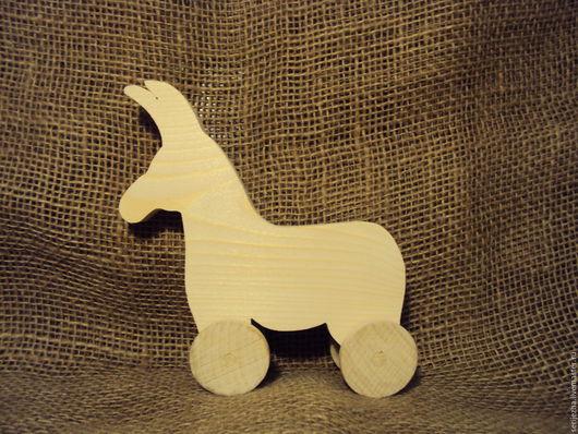Ослик-каталка (большой), деревянная игрушка ручной работы.