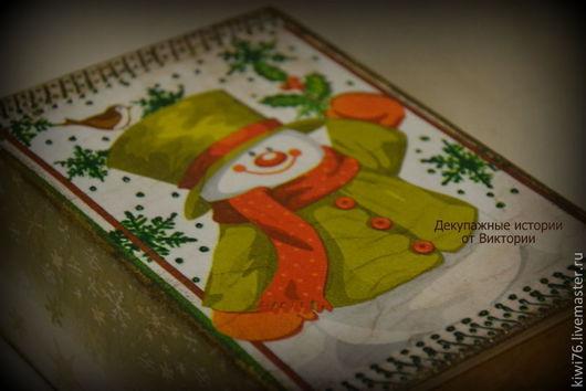 """Новый год 2017 ручной работы. Ярмарка Мастеров - ручная работа. Купить Короб """"Снеговик"""". Handmade. Зеленый, коробочка для подарка, снеговик"""