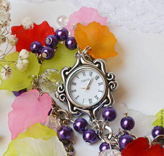 Часы ручной работы. Ярмарка Мастеров - ручная работа. Купить Наручные Часы Браслет Яркие Листья Лето. Handmade.