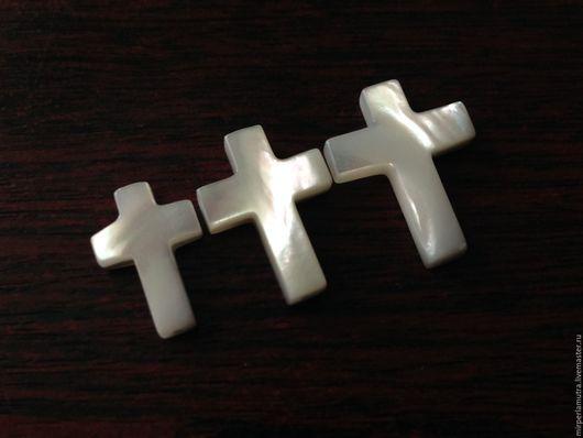 """Для украшений ручной работы. Ярмарка Мастеров - ручная работа. Купить Бусина """"Крест"""" 8х10, 10х14, 13х18 и 15х20 мм, перламутр. Handmade."""