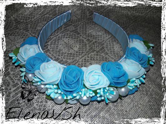 Повязки ручной работы. Ярмарка Мастеров - ручная работа. Купить Ободок Сине-голубые розы со вставкой (основа - пластик). Handmade.