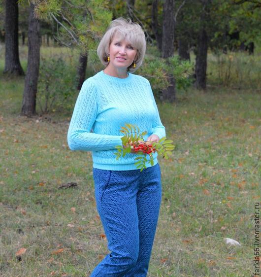 """Кофты и свитера ручной работы. Ярмарка Мастеров - ручная работа. Купить Ажурный пуловер """"Элитный"""", 100% шерсть, тонкий трикотаж. Handmade."""