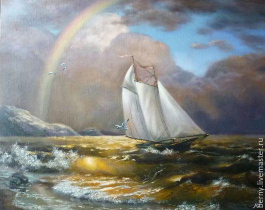 """Пейзаж ручной работы. Ярмарка Мастеров - ручная работа. Купить Картина """"Радуга"""". Handmade. Тёмно-синий, шторм, море-море"""