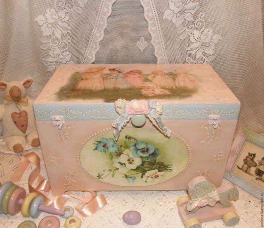 """Корзины, коробы ручной работы. Ярмарка Мастеров - ручная работа. Купить Большой ящик для игрушек """"Нежный возраст-2"""". Handmade."""