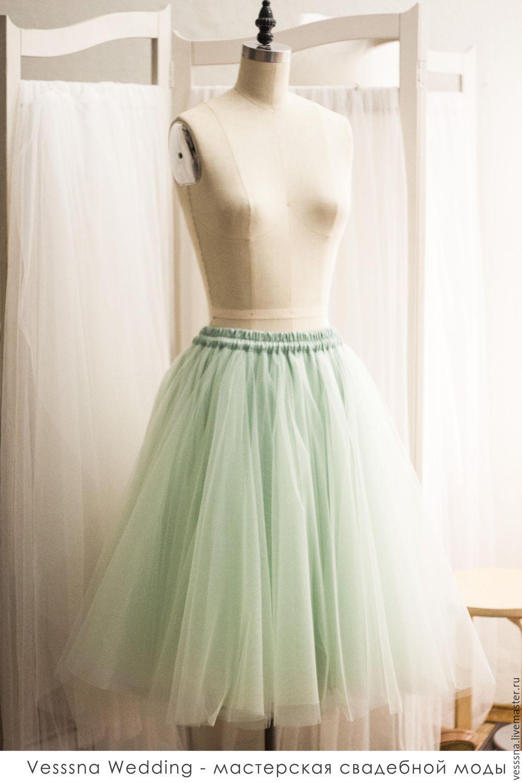 Купить Юбка из фатина Селадон Т05 - юбка из фатина, юбка из сетки, юбка пачка