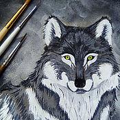 Обложки ручной работы. Ярмарка Мастеров - ручная работа Взгляд волка, обложка, замша, роспись акрилом. Handmade.