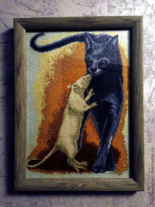 Животные ручной работы. Ярмарка Мастеров - ручная работа. Купить Кот и крыса. Handmade. Счетный крест, Вышивка крестом
