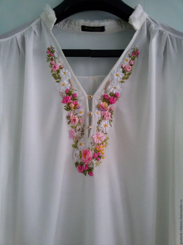 Блузки с вышивкой лентами