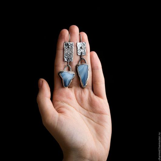"""Серьги ручной работы. Ярмарка Мастеров - ручная работа. Купить Серьги """"Голубая бездна"""". Handmade. Голубой, серебро и агат, бохо"""