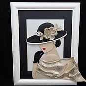 Картины и панно ручной работы. Ярмарка Мастеров - ручная работа Картина из кожи Дама в шляпе. Объемная картина из кожи.. Handmade.