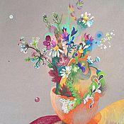 Картины и панно ручной работы. Ярмарка Мастеров - ручная работа Полевые цветы Натюрморт Акварель Стилизация Лето Букет Оранжевый Белый. Handmade.