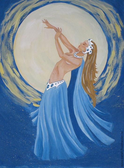 Люди, ручной работы. Ярмарка Мастеров - ручная работа. Купить Лунный танец. Handmade. Танец, луна, девушка, Танцовщица