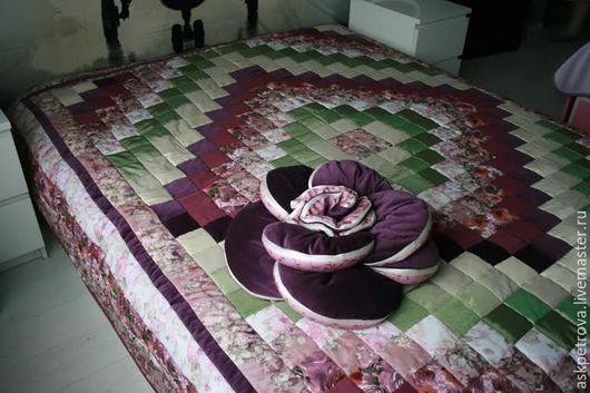 """Текстиль, ковры ручной работы. Ярмарка Мастеров - ручная работа. Купить Одеяло-покрывало пэчворк """"Слива"""". Handmade. Покрывало"""