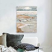 Картины и панно handmade. Livemaster - original item painting acrylic on Baltic coast (sand, blue, gulls, loft). Handmade.