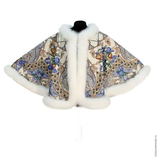 Верхняя одежда ручной работы. Ярмарка Мастеров - ручная работа. Купить Накидка-автоледи из павловопосадского платка «Княжеский» 680-1/190. Handmade.