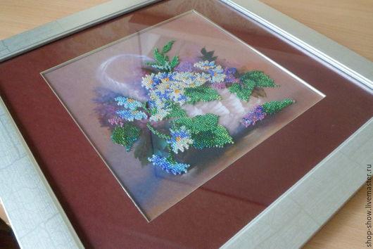 Картины цветов ручной работы. Ярмарка Мастеров - ручная работа. Купить Вышитая картина Корзина с цветами. Handmade. Подарок