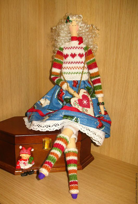Куклы Тильды ручной работы. Ярмарка Мастеров - ручная работа. Купить Кукла Тильда - Винтажное Рождество. Handmade. Ярко-красный