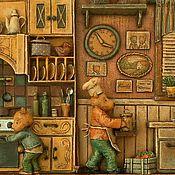 """Картины и панно ручной работы. Ярмарка Мастеров - ручная работа """"Мишкина кухня"""" папье-маше, дерево. Handmade."""
