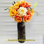 Цветы и флористика ручной работы. Ярмарка Мастеров - ручная работа Букет из оранжевых роз. Handmade.
