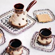 Для дома и интерьера ручной работы. Ярмарка Мастеров - ручная работа Кофейное зёрнышко-Набор подставок. Handmade.