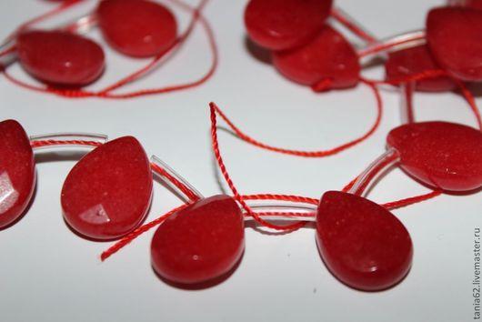 Для украшений ручной работы. Ярмарка Мастеров - ручная работа. Купить Бусины из нефрита (красный). Handmade. Ярко-красный