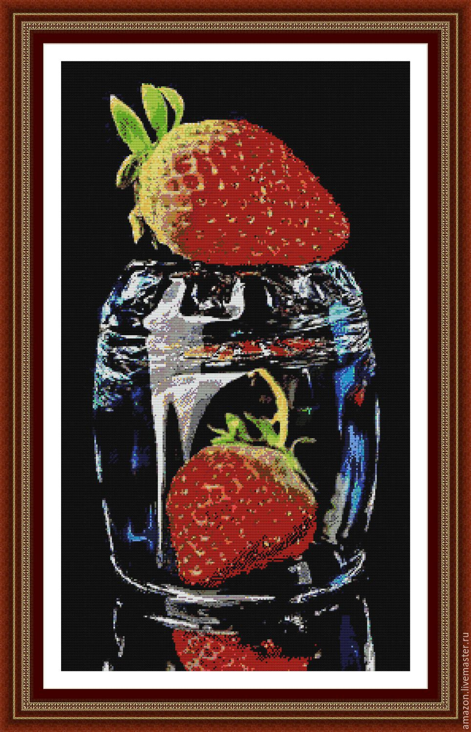 Kit embroidery with beads ' Strawberries in a glass !', Creator\'s Kit, Ufa,  Фото №1