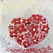 Картины ручной работы. Ярмарка Мастеров - ручная работа Картины: Сердце, масло на холсте, 40х40, поп арт, оригинал. Handmade.