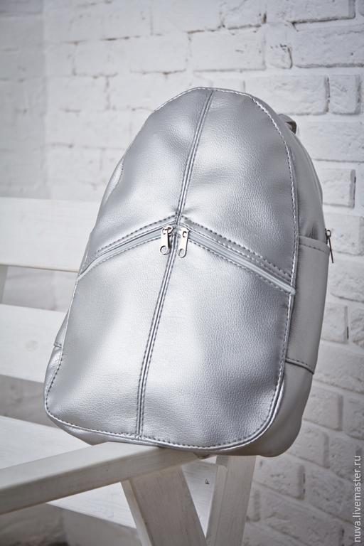 Рюкзаки ручной работы. Ярмарка Мастеров - ручная работа. Купить Серебристый рюкзак с карманами. Handmade. Серебряный, серый, рюкзак