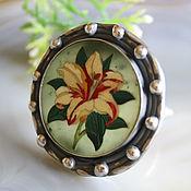 Украшения handmade. Livemaster - original item Florentine mosaic, silver: Lily ring