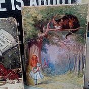 Картины и панно ручной работы. Ярмарка Мастеров - ручная работа Панно 35х50 деревянное состаренное Алиса и Чеширский Кот. Handmade.
