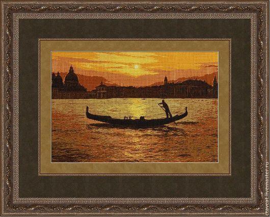 Город ручной работы. Ярмарка Мастеров - ручная работа. Купить Венецианский закат. Handmade. Городской пейзаж, закат, канва
