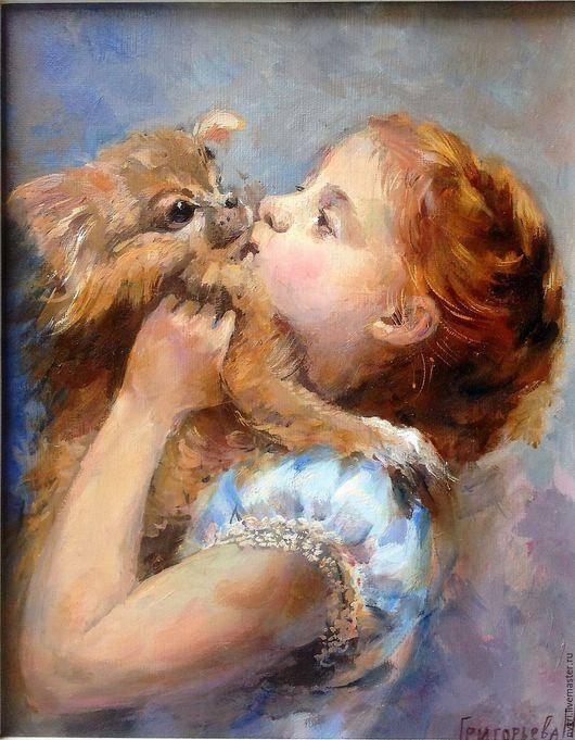 """Люди, ручной работы. Ярмарка Мастеров - ручная работа. Купить Картина """" Моя собака"""".. Handmade. Комбинированный, детский портрет"""