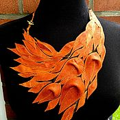 Украшения handmade. Livemaster - original item Orange leather necklace with Floral Motifs. Gift to prom.. Handmade.