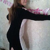 Платья ручной работы. Ярмарка Мастеров - ручная работа Платье вязаное двухцветное черное и белое. Handmade.