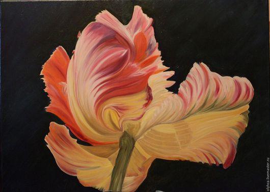 Картины цветов ручной работы. Ярмарка Мастеров - ручная работа. Купить Тюльпан 50х70. Handmade. Комбинированный, хороший подарок, цветок