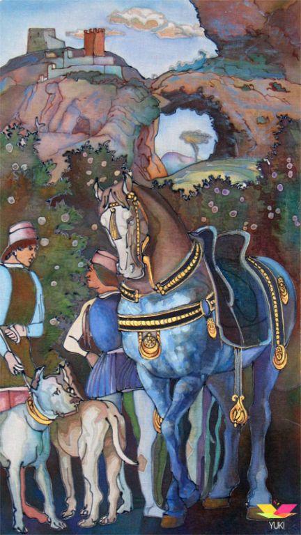 Копия работы мастера Мантеньи (копия фрески на ткани), ручная роспись, батик