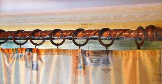 Комплекты аксессуаров ручной работы. Ярмарка Мастеров - ручная работа. Купить Карниз для штор из дерева рельефный винтовой. Handmade. Карниз