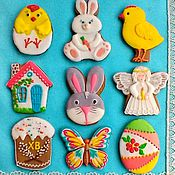 Сувениры и подарки handmade. Livemaster - original item Gingerbread cookies for Easter piece in stock. Cakes - toppers. Handmade.