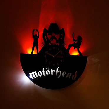 For home and interior handmade. Livemaster - original item Wall clock with led light from Motorhead plate. Handmade.