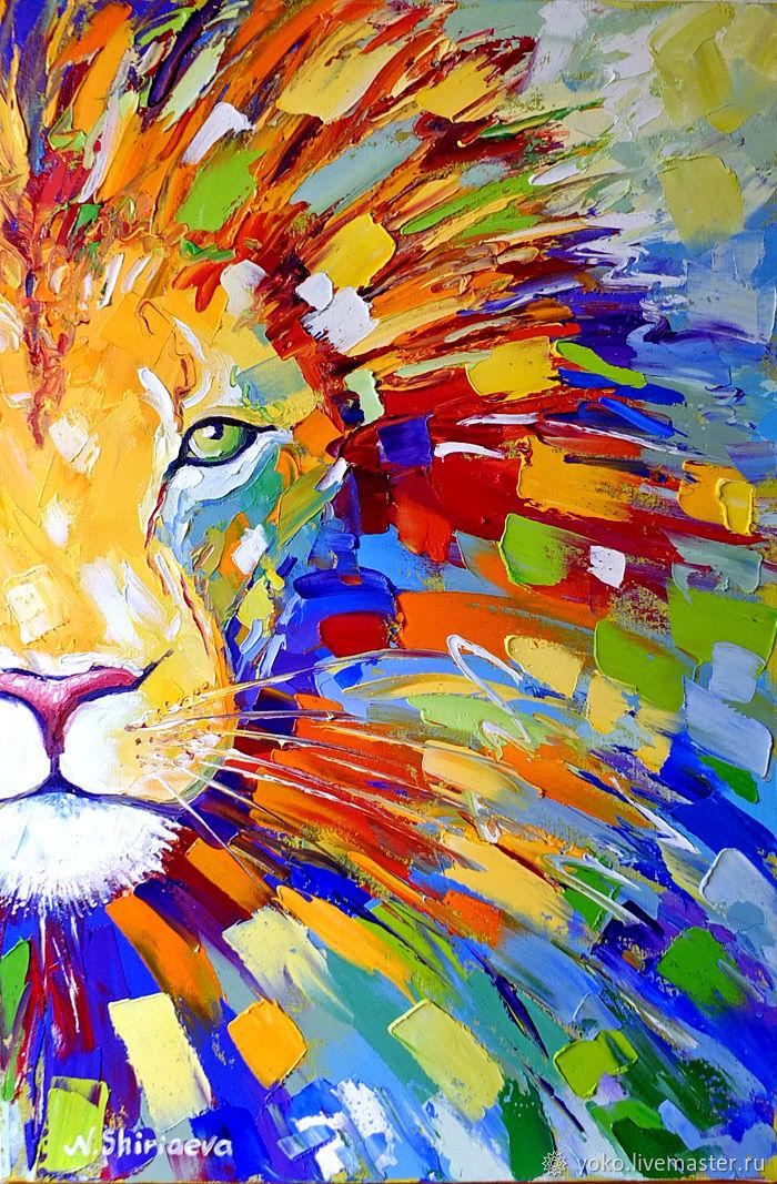 The Picture Lion Multicolor Oil On Canvas Shop Online On