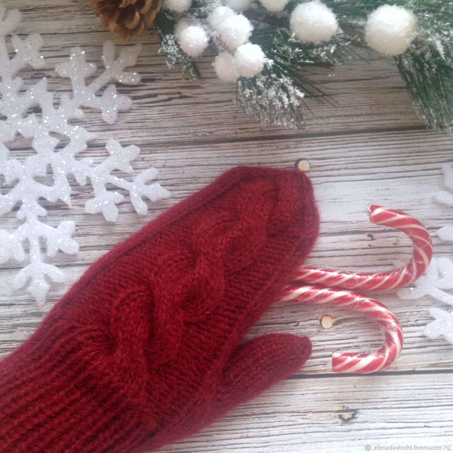 Knitted mittens from Angora ' Bordeaux', Mittens, Moscow,  Фото №1